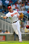 3 July 2009: Washington Nationals' third baseman Ryan Zimmerman warms up prior to facing the Atlanta Braves at Nationals Park in Washington, DC. The Braves defeated the Nationals 9-8 to take the first game of the 3-game weekend series. Mandatory Credit: Ed Wolfstein Photo