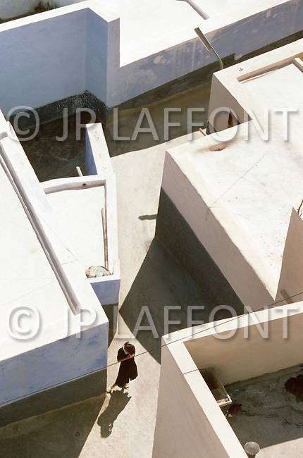 May 7th, 1987. In Melilla, Spanish Morocco. View of the Barrio Hidum, which is a Muslim area on the Suburb of Melilla. Small streets of the Barrio, view from a minaret.