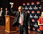 New Ole Miss head football coach Hugh Freeze waves to the crowd as he leaves a press conference at the Ford Center on campus in Oxford, Miss. on Monday, December 5, 2011.
