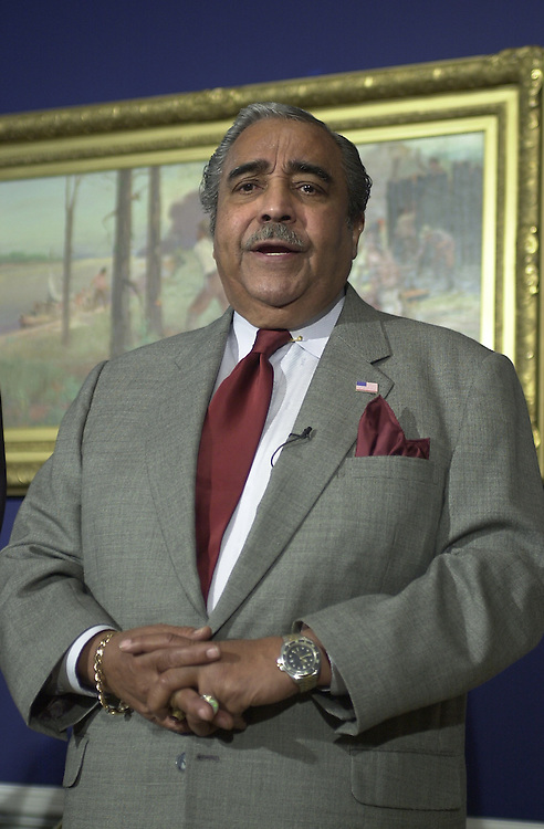 4gephardt111501 -- Rep. Charles B. Rangel (D-NY), spoke in Rep. Gephardt's dugout, questioning the House Republicans holdout concerning airline security.
