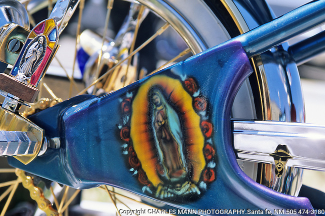 Interpretations of the of the Virgin of Guadalupe, ensconced on a low-rider bicycle at a car show in Espanola, New Mexico, illustrate just how versatile and mobile her image has become