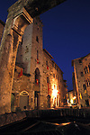 San Gimignano, Italy Street Illuminated in the Evening