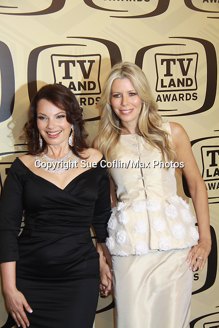 """Fran & Aviva Drescher at the 10th Anniversary of the TV Land Awards on April 14, 2012 to honor shows """"Murphy Brown"""", """"Laverne & Shirley"""", """"Pee-Wee's Playhouse"""", """"In Loving Color"""" and """"One Day At A Time"""" and Aretha Franklin at the Lexington Armory, New York City, New York. (Photo by Sue Coflin/Max Photos)"""