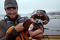 WA07099-00...WASHINGTON - Luke Johanson with a ling cod caught fishing from a kayak in the Strait of Juan De Fuca near Seal and Sail Rocks.