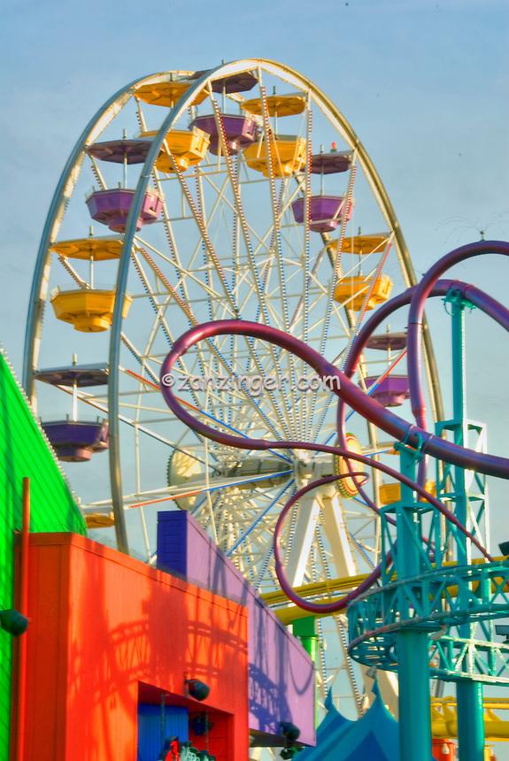 Harbor Grill, Pacific, Park, Pier, Santa Monica, CA, Pacific Park, family amusement park large New Pacific Ferris wheel Roller Coaster moving over the ocean