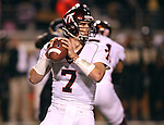 18 November 2006: Virginia Tech's Sean Glennon drops back to pass. The Virginia Tech Hokies defeated the Wake Forest University Demon Deacons 27-6 at Groves Stadium in Winston-Salem, North Carolina in an Atlantic Coast Conference NCAA Division I College Football game.