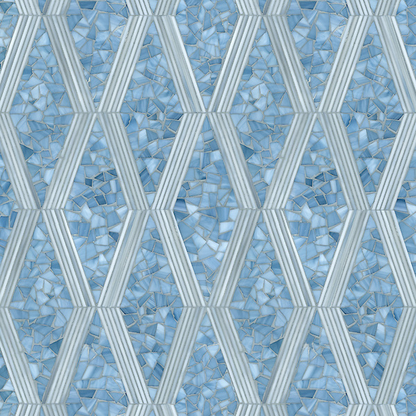 Leticia large, a hand-cut jewel glass mosaic, shown in Mica and Pearl.