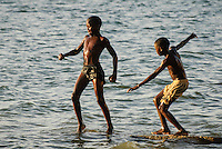 Mussulo bay near Luanda, Angola. Children at the beach