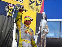 Feb 26, 2017; Chandler, AZ, USA; NHRA funny car driver Matt Hagan celebrates after winning the Arizona Nationals at Wild Horse Pass Motorsports Park. Mandatory Credit: Mark J. Rebilas-USA TODAY Sports