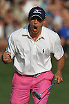 May 8,2011 - Jonathan Byrd fist pumps after sinking his putt on 18 to force a sudden death playoff.  Lucas Glover wins the tournament in sudden death over Jonathan Byrd at Quail Hollow Country Club,Charlotte,NC.