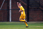 27 November 2005: UNC-G's Thomas Campbell celebrates his 37th minute goal, which cut the SMU lead to one at 2-1. Southern Methodist University defeated the University of North Carolina at Greensboro 3-1 at UNC-G Soccer Stadium in Greensboro, North Carolina in a 2005 NCAA Men's Soccer Tournament game.