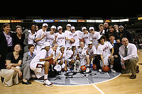 5 March 2007: Tara Vanderveer, Eileen Roche, Charmin Smith, Jesse Clark, Jayne Appel, Brooke Smith, Jillian Harmon, Kristen Newlin, Morgan Clyburn, Christy Titchenal, Michelle Harrison, Amy Tucker, Scott Schuhmann, Marcella Shorty, Dr. Eileen Lambert, Kelly Clark, Betsy Butterick, Melanie Murphy, J.J. Hones, Markisha Coleman, Candice Wiggins, Clare Bodensteiner, Rosalyn Gold-Onwude, Cissy Pierce, Karen Middleton, and Brian Risso during Stanford's 62-55 win over ASU in the finals of the women's Pac-10 tournament championship at HP Pavilion in San Jose, CA.
