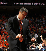 Jan. 8, 2011; Charlottesville, VA, USA; Virginia Cavaliers head coach Tony Bennett talks with his players during the game against the North Carolina Tar Heels at the John Paul Jones Arena. Mandatory Credit: Andrew Shurtleff