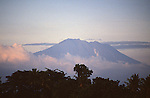 Mt. Agung, Bali, Indonesia, Asia,  photo bali208, Photo Copyright:  Lee Foster, www.fostertravel.com, 510-549-2202, lee@fostertravel.com, adventure, attraction, inspiring, landscape, majestic, mountain, natural, nature, outdoors, picturesque, scenic, sightseeing, splendor, travel, clouds, forest, horizontal