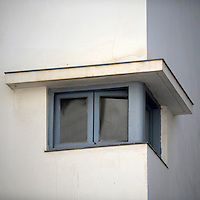 A window detail of a Bauhaus style building at 20 Baale Melakha Street. Tel Aviv is known as the White City in reference to its collection of 4,000 Bauhaus style buildings, the largest number in any city in the world. In 2003 the Bauhaus neighbourhoods of Tel Aviv were placed on the UNESCO World Heritage List. ..