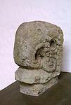 Macaw head sculpture in the Copan Sculpture Museum at the Mayan ruins of Copan, Honduras.