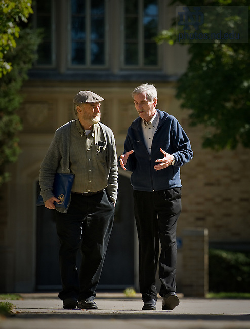 Rev. John S. Dunne, C.S.C. and his brother Patrick Dunne walk on campus, Oct. 4, 2010...For Notre Dame Magazine..Photo by Matt Cashore/University of Notre Dame