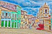 Old town Salvador, Brazil   Historic city of Atlantic Coast   Bahia Region  Old capitol of Brazil