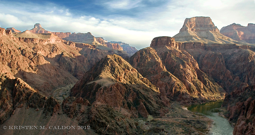 Bright Angel Canyon, Phantom Ranch and the Colorado River at the bottom of the Grand Canyon.