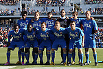 14 December 2014: UCLA's starters. Front row (left to right): Abu Danladi (GHA), Andrew Tusaazemajja, Brian Iloski, Felix Vobejda (GER), Grady Howe. Back row (left to right): Larry Ndjock (GER), Chase Gasper, Edgar Contreras, Earl Edwards, Leo Stolz (GER), Michael Amick. The University of Virginia Cavaliers played the University of California Los Angeles Bruins at WakeMed Stadium in Cary, North Carolina in the 2014 NCAA Division I Men's College Cup championship match. Virginia won the championship by winning the penalty kick shootout 4-2 after the game ended in a 0-0 tie after overtime.