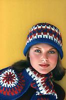 Christie Brinkley models crochet winter fashion, 1975. Photo by John G. Zimmerman.