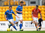 St Johnstone v Blackpool...25.07.15  McDiarmid Park, Perth.. Pre-Season Friendly<br /> Chris Millar gets away from Jim McAlister<br /> Picture by Graeme Hart.<br /> Copyright Perthshire Picture Agency<br /> Tel: 01738 623350  Mobile: 07990 594431