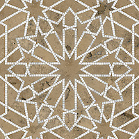 Castilla, a natural stone waterjet and hand cut mosaic shown in Jura Grey honed and Calacatta Tia polished is part of the Miraflores Collection by Paul Schatz for New Ravenna Mosaics.<br />