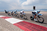 The Omega-Pharma-Quickstep team of Levi Leipheimer rolls through lap 2 of the Team Time Trial at Miller Motor Sports Park in Tooele Utah. The year featured a Team time trial instead of the individual time trial that is standard in most North American races. Leipheimer dropped 2 minutes on the day.