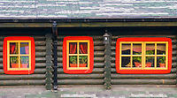 windows of a shack  in ukranian village