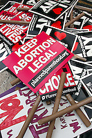 Protest signs lay on the side walk after a planned parenthood march in NYC on Aug. 28, 2004.Sandy Schaeffer/MAI/Landov Sandy Schaeffer Photography - Washington DC Photographer<br />