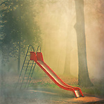 Playgroung shrouded in fog.<br />