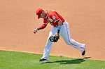 17 June 2012: Washington Nationals shortstop Ian Desmond is charged with an error on an infield play in the 4th inning against the New York Yankees at Nationals Park in Washington, DC. The Yankees defeated the Nationals 4-1 to sweep their 3-game series. Mandatory Credit: Ed Wolfstein Photo
