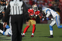 SAN FRANCISCO - DECEMBER 27:  Josh Morgan #84 of the San Francisco 49ers runs with the football during the game against the Detroit Lions at Candlestick Park in San Francisco, California on Sunday, December 27, 2009. (Photo by Brad Mangin)