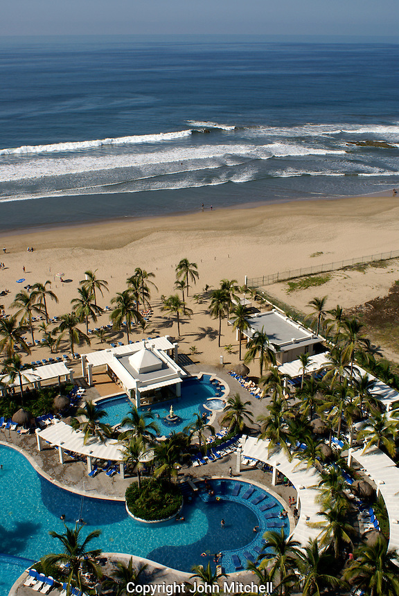 Swimming pools and beach at the Hotel RIU, Nuevo Mazatlan, Sinaloa, Mexico
