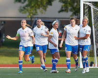 Boston Breakers forward Katie Schoepfer (2) celebrates second of three goals with teammates. In a Women's Premier Soccer League Elite (WPSL) match, the Boston Breakers defeated Western New York Flash, 3-2, at Dilboy Stadium on May 26, 2012.
