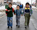 """THIS PHOTO IS AVAILABLE AS A PRINT OR FOR PERSONAL USE. CLICK ON """"ADD TO CART"""" TO SEE PRICING OPTIONS.   Students walk home from their preschool for Roma children in the Zemun Polje neighborhood of Belgrade, Serbia. The program, for children 5-9 years old, is part of the Branko Pesic School, supported by Church World Service.  Many of the children are from refugee families that fled from Kosovo. Lacking legal legal status in Serbia, their children are unable to attend regular schools."""