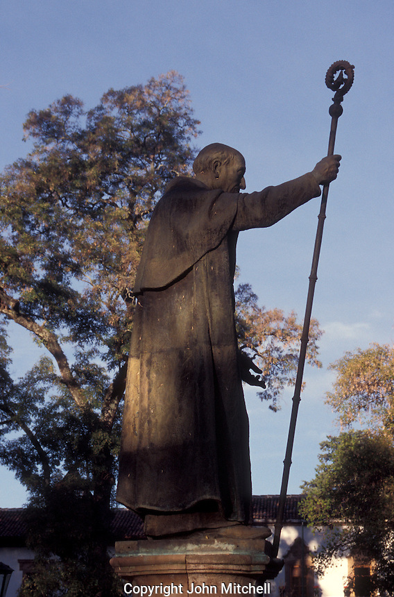 Statue of Bishop Vasco de Quiroga in the Plaza Vasco de Quiroga or Plaza Grande in the Spanish colonial town of Patzcuaro, Michoacan, Mexico