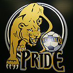 16 January 2009: FC Gold Pride logo. The 2009 inaugural Womens Pro Soccer (WPS) Draft was held at the Convention Center in St. Louis, Missouri in conjuction with the National Soccer Coaches Association of America's annual convention.