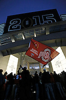 Will Banks of Seattle waves an Ohio State fan prior to the College Football Playoff National Championship at AT&T Stadium in Arlington, Texas on Jan. 12, 2015. (Adam Cairns / The Columbus Dispatch)