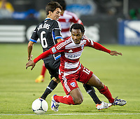 SANTA CLARA, CA - July 18, 2012: FC Dallas midfielder Julian de Guzman (12) during the San Jose Earthquakes vs  FC Dallas match at the Buck Shaw Stadium in Santa Clara, California. Final score San Jose Earthquakes 2, FC Dallas 1.