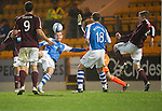 St Johnstone v Hearts..15.12.12      SPL.Steven MacLean sees hsi shot beat Jamie MacDonald but cleared off the line.Picture by Graeme Hart..Copyright Perthshire Picture Agency.Tel: 01738 623350  Mobile: 07990 59443