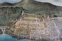 Painting of a plan of the Old Town of Dubrovnik before the 1667 earthquake, in the museum in the Franciscan monastery on Stradun or Placa, Old Town, Dubrovnik, Croatia. The city developed as an important port in the 15th and 16th centuries and has had a multicultural history, allied to the Romans, Ostrogoths, Byzantines, Ancona, Hungary and the Ottomans. In 1979 the city was listed as a UNESCO World Heritage Site. Picture by Manuel Cohen