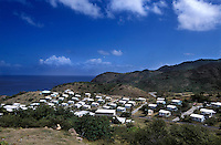 Lookout, the new town built in the north. Thousands were evacuated from their homes in the south of the island after it was abandoned after the 1995 and 1997 eruption of the Soufriere Hills volcano. The southern area which contained most of the farm land is still out of bounds to everyone except scientists..Photo©Steve Forrest/Workers Photos