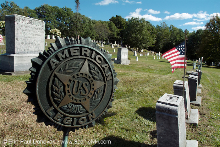 Old weathered headstones at Sunnyside Cemetery . Located in the New Hampshire town of Sugar Hill, which is part of New England