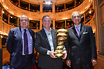 Bernard Hinault pictured with Andrea Monti, La Gazzetta dello Sport Director and Mauro Vegni, Giro d'Italia Director, is inducted into the Giro d'Italia Hall of Fame 2017. The French champion receives his entry with his three successes in 1980, 1982 and 1985. Teatro Gerolamo, Milan, Italy. 28th March 2017.<br /> Picture: RCS Media | Cyclefile<br /> <br /> <br /> All photos usage must carry mandatory copyright credit (&copy; Cyclefile | RCS Media)