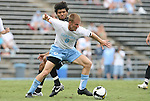 31 August 2008: UNC's Garry Lewis (8) and VCU's Gerson Dos Santos (BRA) (behind). The University of North Carolina Tar Heels defeated the Virginia Commonwealth University Rams 1-0 in overtime at Fetzer Field in Chapel Hill, North Carolina in an NCAA Division I Men's college soccer game.