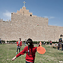 Iraq - Kurdistan - Ankawa - Children playing outside St Joseph Cathedral after catechism.
