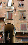 Archway Bridge between 13th-14th c. Late Gothic Houses, Piazza del Campo, Siena, Italy