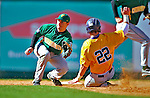 19 April 2009: University of Vermont Catamounts' infielder Brad Currier, a Senior from Essex Junction, VT, is unable to tag a sliding Pete Eichner during a game against the University at Albany Great Danes at Historic Centennial Field in Burlington, Vermont. The Great Danes defeated the Catamounts 9-4 in the second game of a double-header. Sadly, the Catamounts are playing their last season of baseball, as the program has been marked for elimination due to budgetary constraints on the University. Mandatory Photo Credit: Ed Wolfstein Photo