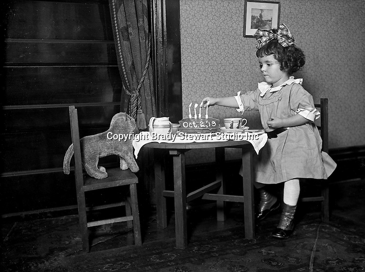 Wilkinsburg PA:  Helen Stewart and her stuffed dog having a birthday party - 1919